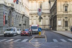 Milano city centre street view. With people and cars  . Italy , Europe Stock Photo