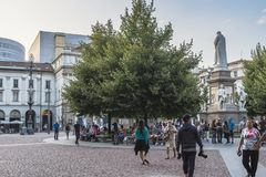 Milano city centre street view. With people and Leonardo da Vinci monument  . Italy , Europe Royalty Free Stock Photography