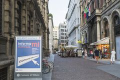 Milano city centre street view. With peoplerestaurants and shops . . Italy , Europe Royalty Free Stock Photo