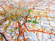 Milano city over a road map ITALY stock photography