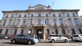 Milano, Corso Magenta , Palazzo Litta, September 5, 2017 - Superintendence archeology beautiful arts and landscape. Location of the fashion week - tmelapse of stock footage