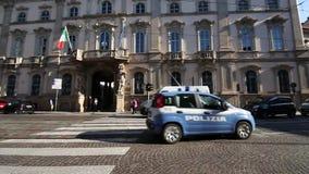 Milano, Corso Magenta , Palazzo Litta, September 5, 2017 - Superintendence archeology beautiful arts and landscape. Police car stock footage