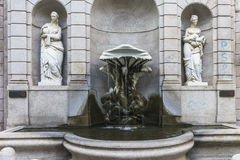 Milano , fountain on the street. Milano city centre street with old Roman fountain . Italy , Europe royalty free stock photos