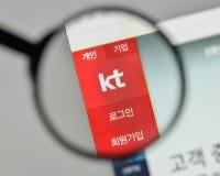 Milano, Italia - 1° novembre 2017: Logo di KT Korea le Telecom Corp sulla t fotografia stock libera da diritti