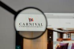 Milano, Italia - 10 agosto 2017: Carnival Corporation & logo del plc Fotografia Stock Libera da Diritti
