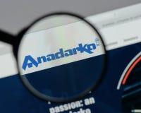 Milano, Italia - 10 agosto 2017: Homep del sito Web del petrolio di Anadarko Immagine Stock Libera da Diritti