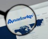 Milano, Italia - 10 agosto 2017: Homep del sito Web del petrolio di Anadarko Immagini Stock Libere da Diritti