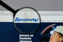 Milano, Italia - 10 agosto 2017: Homep del sito Web del petrolio di Anadarko Immagine Stock