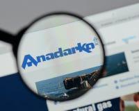 Milano, Italia - 10 agosto 2017: Homep del sito Web del petrolio di Anadarko Immagini Stock