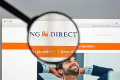 Milano, Italia - 10 agosto 2017: Homepage del sito Web della banca del gruppo di ING Fotografia Stock Libera da Diritti