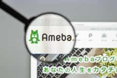 Milano, Italia - 10 agosto 2017: Homepage del sito Web di Ameblo Logo di Ameblo visibile Fotografie Stock