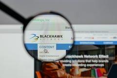 Milano, Italia - 10 agosto 2017: Logo delle tenute della rete di Blackhawk Immagini Stock