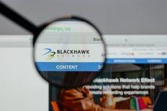 Milano, Italia - 10 agosto 2017: Logo delle tenute della rete di Blackhawk Immagine Stock
