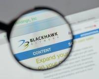 Milano, Italia - 10 agosto 2017: Logo delle tenute della rete di Blackhawk Fotografia Stock