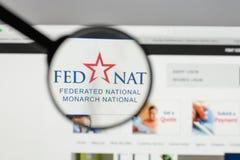 Milano, Italia - 10 agosto 2017: Logo nazionale organizzato in modo federativo della tenuta immagini stock