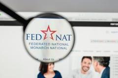 Milano, Italia - 10 agosto 2017: Logo nazionale organizzato in modo federativo della tenuta immagine stock