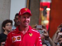 Milano, Italia - 29 agosto 2018: Sebastian Vettel all'evento F1 a Milano immagini stock libere da diritti