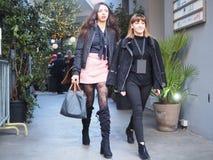 MILANO, Italia: 13 gennaio 2019: Attrezzatura di stile della via di blogger di modo prima della sfilata di moda di JOHN RICHMOND fotografia stock