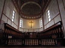 MILANO, ITALIA - 3 MAGGIO 2018: La chiesa interna del delle Grazie di Santa Maria dettaglia l'altare ed il coro L'Italia Fotografie Stock