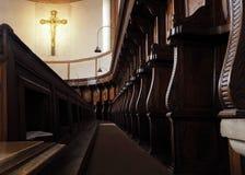 MILANO, ITALIA - 3 MAGGIO 2018: La chiesa interna del delle Grazie di Santa Maria dettaglia l'altare ed il coro La Lombardia, Immagine Stock