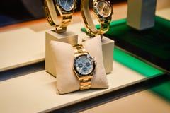 Milano, Italia - 24 settembre 2017: Orologi di Rolex in un deposito dentro Immagini Stock