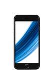 Milano, Italia - 19 settembre 2016: Vista frontale del iPhone nero 7 di Apple Fotografia Stock Libera da Diritti