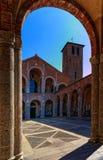 Milano Italien, S. Ambrogio Cathedral Arkivfoto
