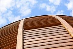 Milano, Italy 22 2017 Czerwiec: kopuła sufit wierza Drewniany kopuła szczegół Naturalni materiały tak jak drewno używają Obraz Royalty Free