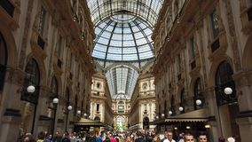 Milano, Italy. The famous Vittorio Emanuele II shopping mall and one of the major landmark in Milan. Tourist attraction stock video