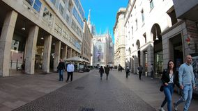 Milano, Italy. Hyper lapse walking along the pedestrian streets of the city center of Milano until the Duomo. Milano, Italy. Hyper lapse walking along the stock footage