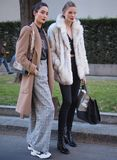 MILANO, Italy: 14 January 2019: Fashion blogger street style outfit during MFW 2019 stock image