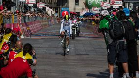 Milano, Italy May 28, 2017: Adam Yates , Orica Team,in With Jersey on the finish line. Of the last time trial stage of the Tour of Italy 2017 with arrival in Stock Photos