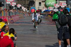 Milano, Italy May 28, 2017: Adam Yates , Orica Team,in With Jersey on the finish line. Of the last time trial stage of the Tour of Italy 2017 with arrival in Stock Image