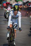 Milano, Italy May 28, 2017: Adam Yates , Orica Team,in With Jersey on the finish line. Of the last time trial stage of the Tour of Italy 2017 with arrival in Stock Photography