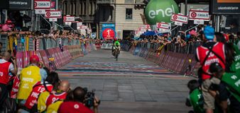 Milano, Italy May 28, 2017: Davide Formolo, Cannondale Team, on the finish line. Of the last time trial stage of the Tour of Italy 2017 with arrival in Milan Stock Image