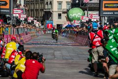 Milano, Italy May 28, 2017: Davide Formolo, Cannondale Team, on the finish line. Of the last time trial stage of the Tour of Italy 2017 with arrival in Milan Royalty Free Stock Image