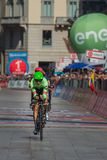 Milano, Italy May 28, 2017: Davide Formolo, Cannondale Team, on the finish line. Of the last time trial stage of the Tour of Italy 2017 with arrival in Milan Royalty Free Stock Images