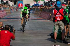 Milano, Italy May 28, 2017: Davide Formolo, Cannondale Team, on the finish line. Of the last time trial stage of the Tour of Italy 2017 with arrival in Milan Royalty Free Stock Photography