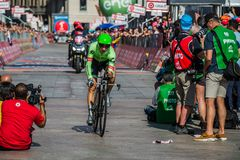 Milano, Italy May 28, 2017: Davide Formolo, Cannondale Team, on the finish line. Of the last time trial stage of the Tour of Italy 2017 with arrival in Milan Royalty Free Stock Photos