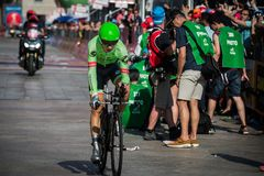 Milano, Italy May 28, 2017: Davide Formolo, Cannondale Team, on the finish line. Of the last time trial stage of the Tour of Italy 2017 with arrival in Milan Stock Photos