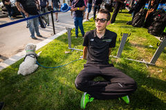 Milano, Italy 31 May  2015; Davide Formolo and his dog after finishing his first Giro D'Italia Stock Image