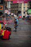 Milano, Italy May 28, 2017: Domenico Pozzovivo, Ag2r Team, on the finish line. Of the last time trial stage of the Tour of Italy 2017 with arrival in Milan Royalty Free Stock Photos