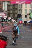 Milano, Italy May 28, 2017: Domenico Pozzovivo, Ag2r Team, on the finish line. Of the last time trial stage of the Tour of Italy 2017 with arrival in Milan Stock Photos