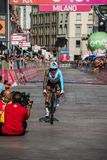 Milano, Italy May 28, 2017: Domenico Pozzovivo, Ag2r Team, on the finish line. Of the last time trial stage of the Tour of Italy 2017 with arrival in Milan Stock Photography