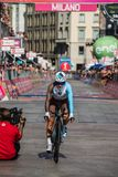 Milano, Italy May 28, 2017: Domenico Pozzovivo, Ag2r Team, on the finish line. Of the last time trial stage of the Tour of Italy 2017 with arrival in Milan Stock Images