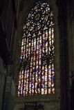 Huge stained glass window inside Milan Duomo Cathedralin Royalty Free Stock Photo