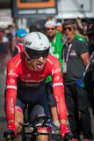 Milano, Italy May 28, 2017: Professional cyclist, Trek Team, on the finish line. Of the last time trial stage of the Tour of Italy 2017 with arrival in Milan Royalty Free Stock Images