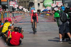 Milano, Italy May 28, 2017: Professional cyclist, Trek Team, on the finish line. Of the last time trial stage of the Tour of Italy 2017 with arrival in Milan Stock Images