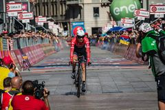 Milano, Italy May 28, 2017: Professional cyclist, Trek Team, on the finish line. Of the last time trial stage of the Tour of Italy 2017 with arrival in Milan Stock Image