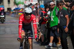 Milano, Italy May 28, 2017: Professional cyclist, Trek Team, on the finish line. Of the last time trial stage of the Tour of Italy 2017 with arrival in Milan Stock Photo